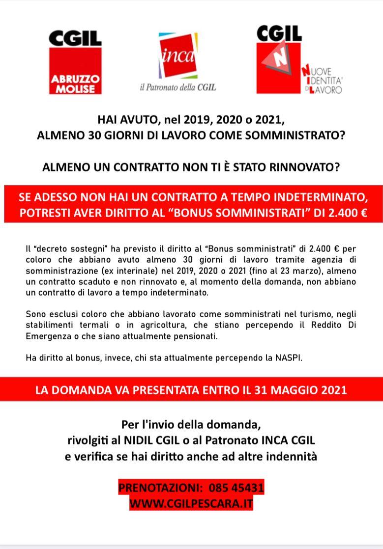 """""""Bonus somministrati"""" di 2400 euro"""