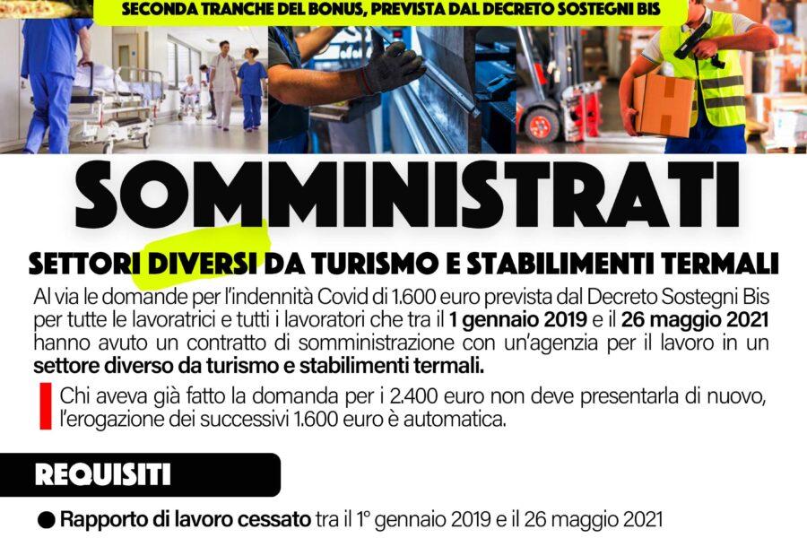 SOMMINISTRATI : 1600 euro previste dal DECRETO SOSTEGNO BIS